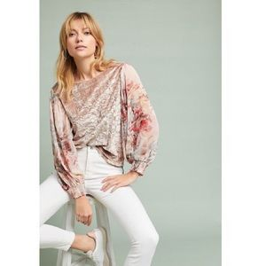 Anthropologie Crushed Velvet Blouse